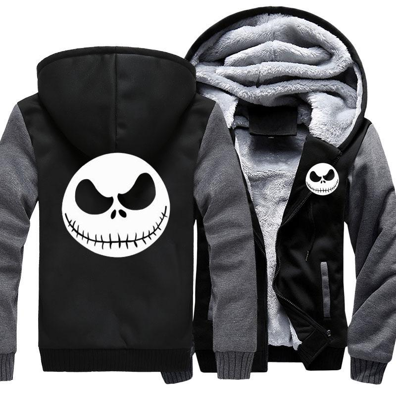 Men Thicken Hoodie Nightmare Before Natal Jack Skellington Zipper Jacket capuz Brasão manga comprida Casual Quente com capuz CX200825