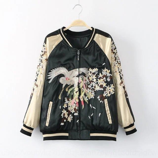 Tr7Sw 0KpHY цветок весной и осенью Новый бейсбол двусторонний бейсбол костюм наряд пар износ кран вышитый женской куртка куртка пару ж