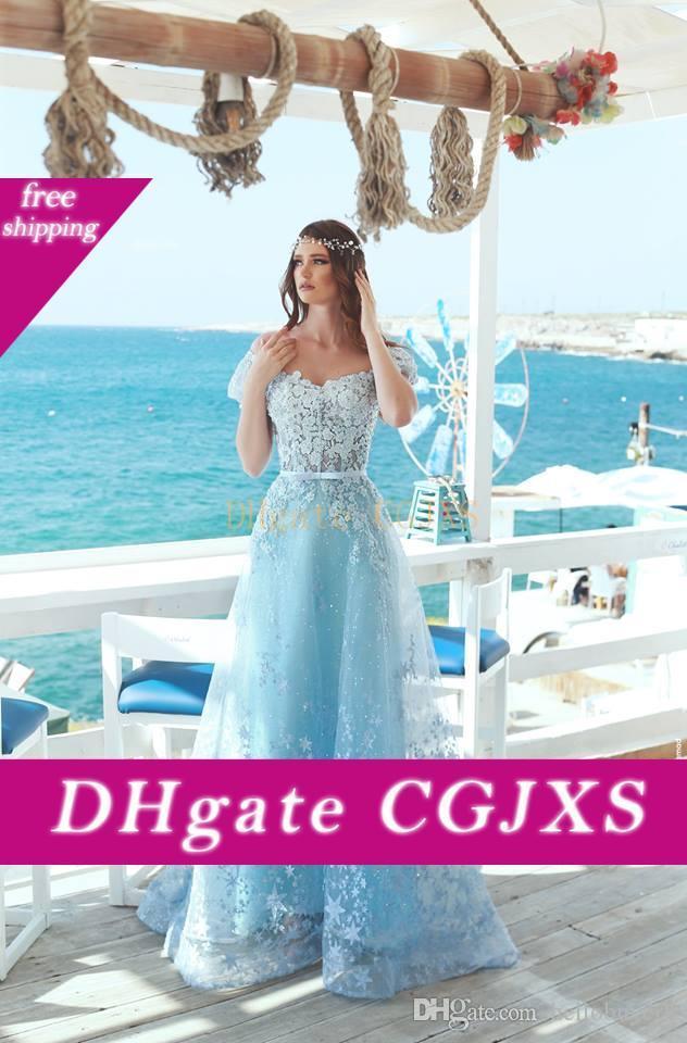 Manga corta Una línea de vestidos de baile del cielo azul de encaje 2.020 ocasión formal largo de las mujeres vestidos de noche del partido de la playa Especial Fiesta Vestido Largo