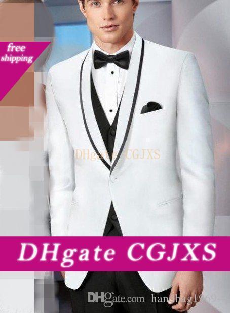 Mode un bouton blanc smokings marié col châle hommes Parti robe de bal Vêtements Costumes de mariage (Veste Pantalon Gilet Tie) D: 200