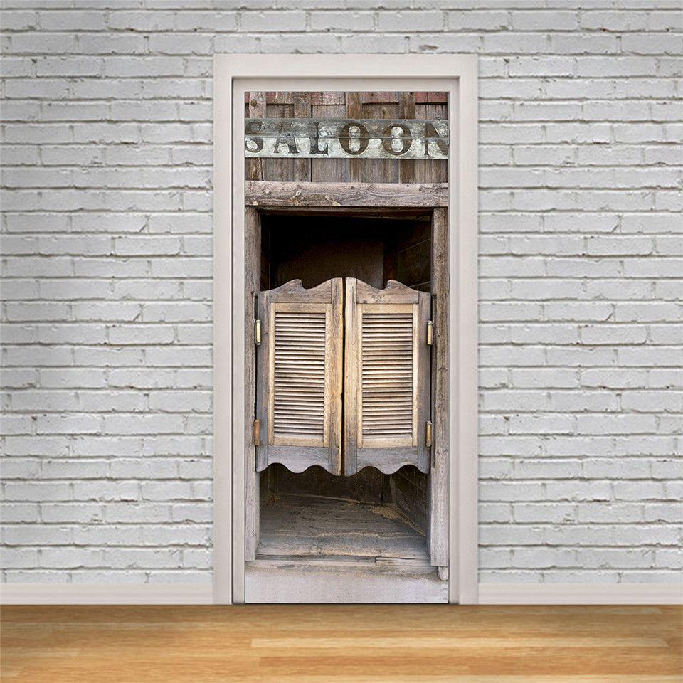 95x215cm white line door sticker DIY peel off and stick to wallpaper vinyl waterproof wall decal home design sticker door deurposter