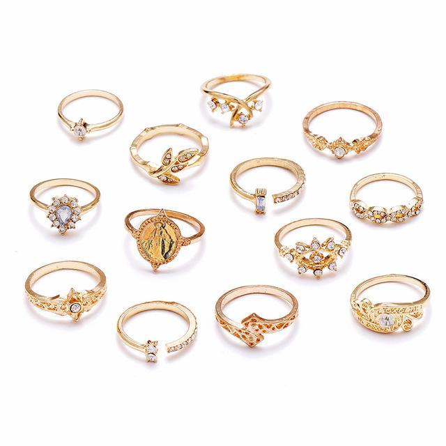 13 pcs / set Vintage Jesus Rings Set Mulheres Crystal Fashion Cruz Folha oca Geometric Mid dedo Anéis partido Jóias Acessórios