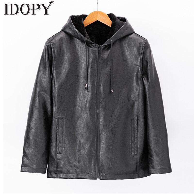 Piel Idopy hombres de cuero de moda chaquetas casuales Fleece forrado de pieles de abrigo con capuchas PU térmica