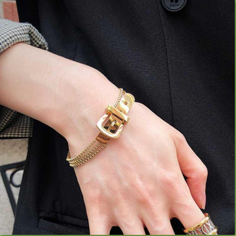 AOMU 1PC Металл Золото Серебро Цвет пряжки пояса цепь браслет Linked геометрических браслеты для браслета женщин Statement Punk 2020