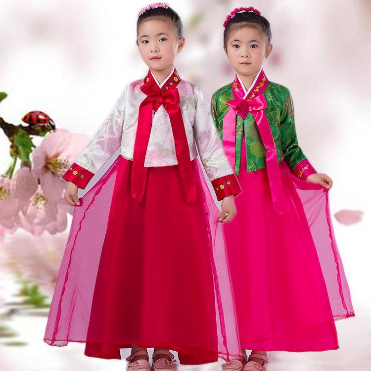Trajes de princesa coreana chino de minoría de niños bordado trajes de las muchachas de Corea hanbok tradicional escenario de funcionamiento