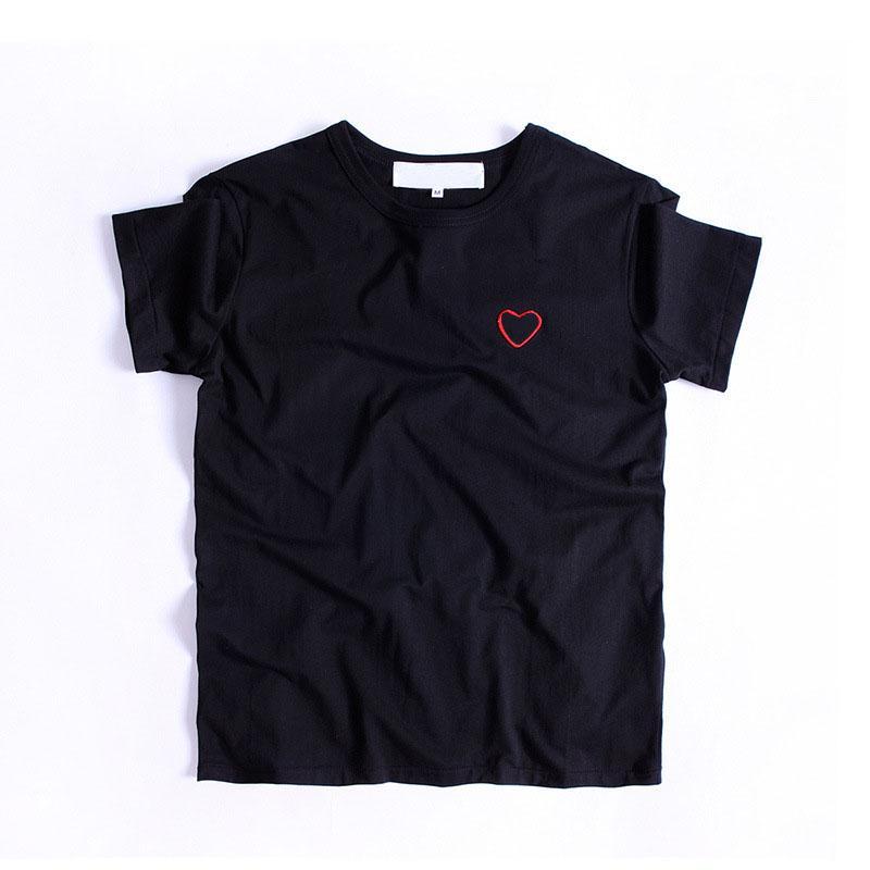 Erkekler Hip-hop Katı Renk Kısa Kollu Kadın Üst Tees Boyutu 20s Tişörtlü Erkek Moda Kırmızı Kalp Aşıklar Baskılı T Shirt S-XL