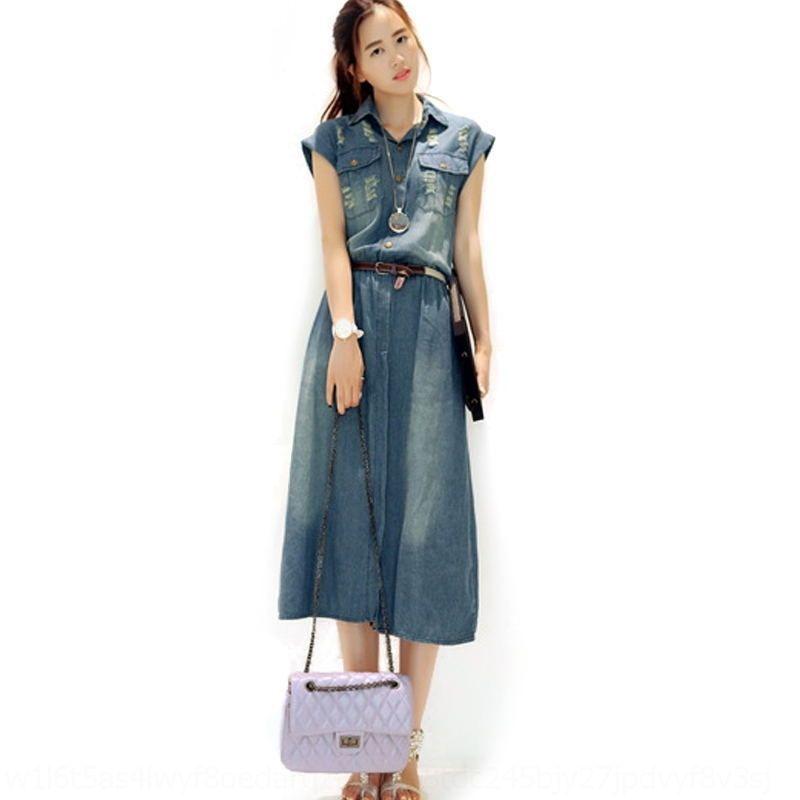 tnJOi PmIBM coréenne robe mince mince nouvelle jupe denim jupe grande taille casual robe en jean style féminin