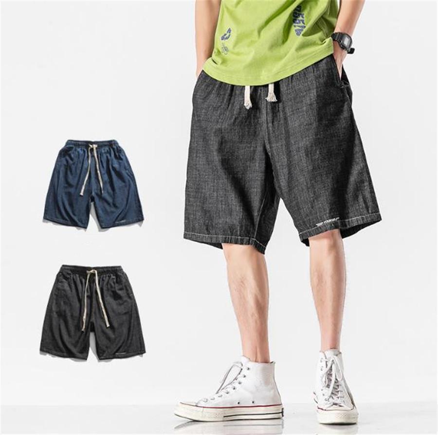 Homens Shorts soltas Sólidos cores Harajuku Descontraído Mens calças na altura do joelho Casual Masculino calças jeans Designer