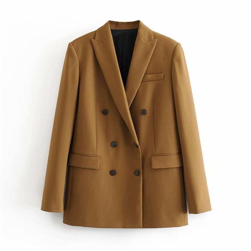 Женские костюмы Blazers Продажа Предметы Женщины Элегантные Длинные Рукав Двухбортсчадочные Куртка Повседневная Средняя Женская Chic Chic Lady Office Suit Warewear