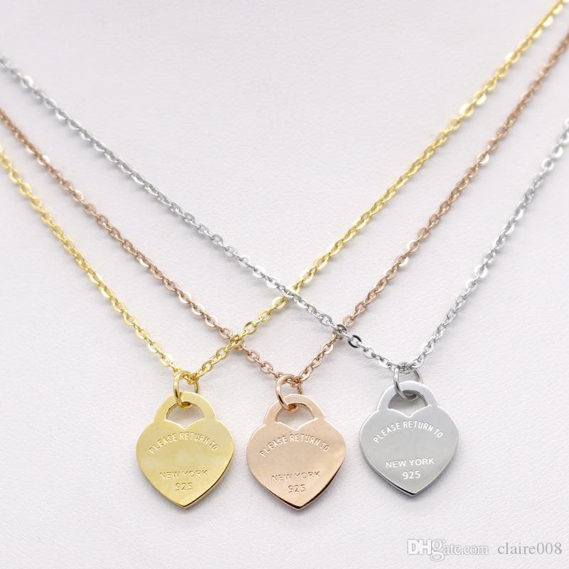 collier en forme de coeur en acier inoxydable Collier T courte femme bijoux en or 18 carats collier pendentif coeur de pêche de titane pour l'homme