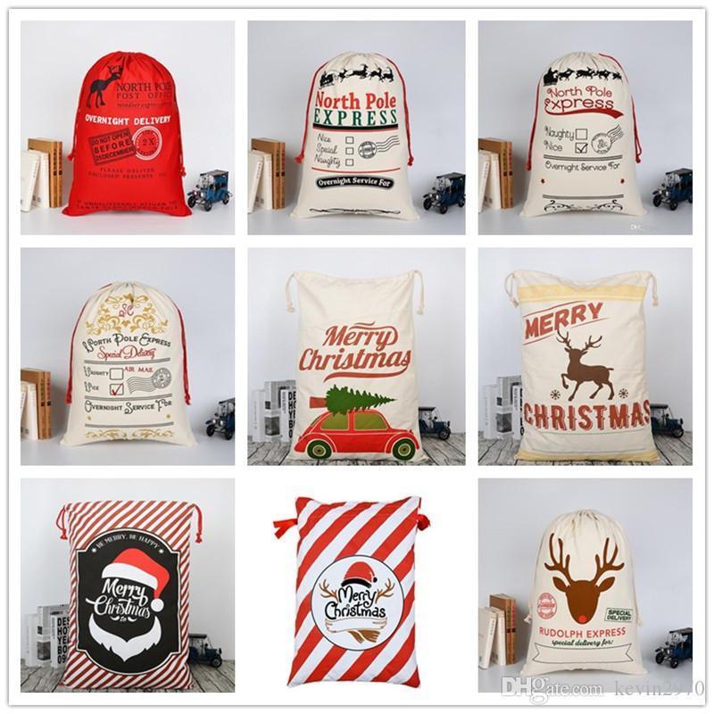 Weihnachtsgeschenk-Tasche Großes Schwere Leinwand Kordelzug Sankt Taschen A New Year Geschenke für Kinder gute Qualität Indoor Weihnachtsdekoration 08