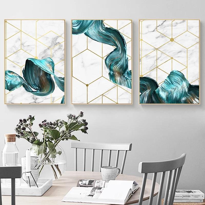 3 painéis de parede Arte geométrica lona pintura em tecido azul do sumário do poster minimalista moderno Retrato para Living Room Home Decor