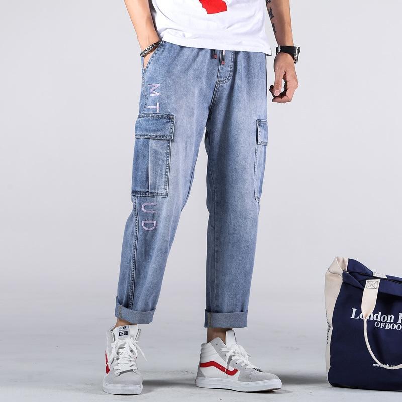 69Ph4 CKuUT Осень грузовые джинсы потеть Стильный пучки голеностопного сустава длиной 9 сыпучих мужской XL аквариумист молодежные джинсы и брюки спортивные брюки trouse