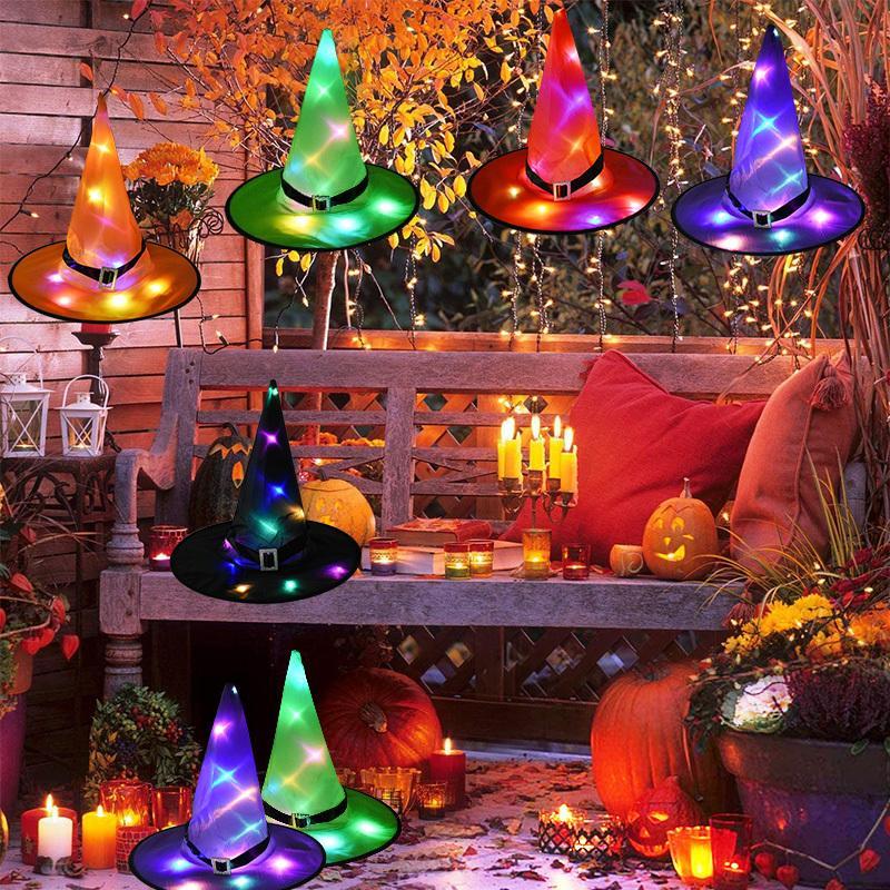 Çocuklar için Cadılar Bayramı Dekor Süspansiyon Ağacı Parlayan Hat Asma LED Işık Parlayan Cadılar Hat ile 1pcs Cadılar Bayramı Cadı Şapka
