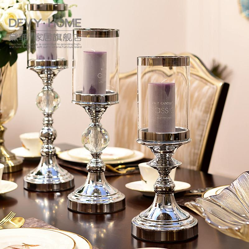 In stile europeo, ornamenti Modern Home Vetro metallo Candeliere creativo soggiorno Tavolo Decoration Y200109