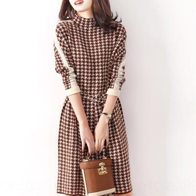 m4AUd malha pássaro xadrez camisola emagrecimento solta camisola Francês nicho vestido de Outono nova para as mulheres