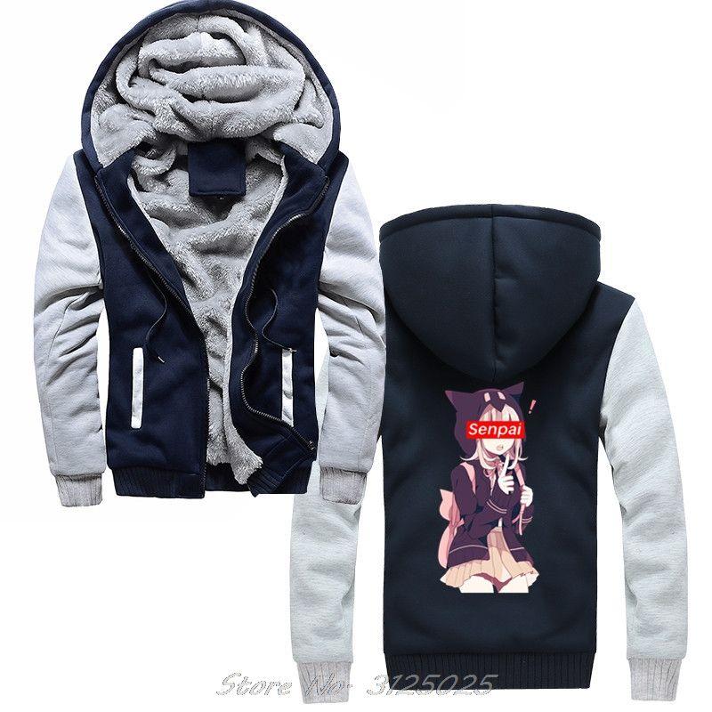 Japanese Anime School Girl con capucha linda Senpai Aviso Me sudaderas Streetwear hombres invierno caliente grueso de la cremallera con capucha