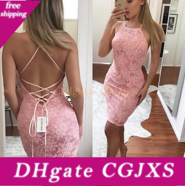 Sin mangas vestido de cóctel cabestro sin respaldo rubor rosado atractivo de vestidos de baile del cordón lleno Criss -Cruz barato 2018 vestidos de partido formal
