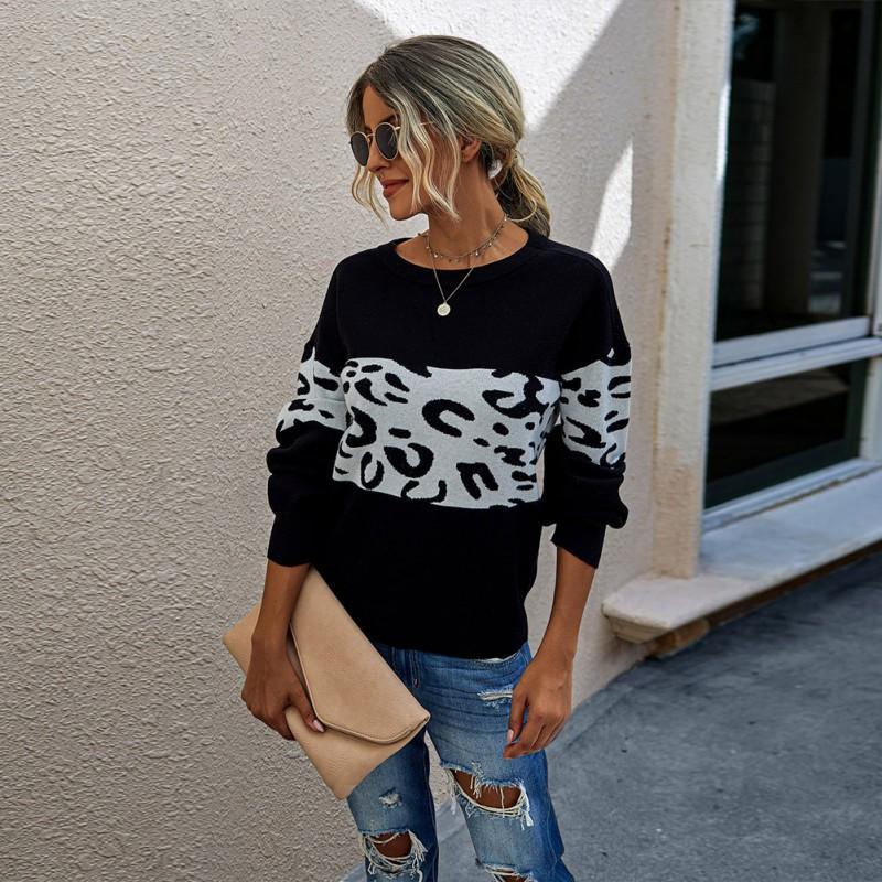 Piel de leopardo Calentamiento de las mujeres suéteres de manga otoño flojo del suéter femenino de cuello redondo de gran tamaño largo invierno de las mujeres suéteres básicos