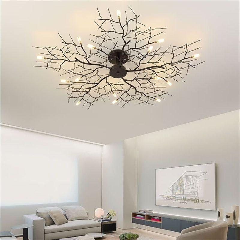 Amerikanische LED-Deckenleuchte Nordic-Baumast Eisen Deckenleuchten für Wohnzimmer Schlafzimmer Kronleuchter Deckendekor-Licht Leuchte