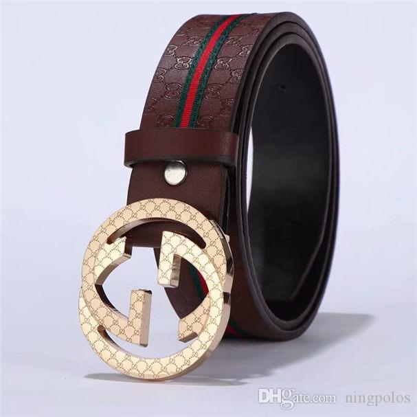 Cinturón de cuero de lujo del diseñador de los hombres y las mujeres letra doble de Big Negro Oro Plata hebilla de cinturón superior de la manera de los hombres correa de cuero genuina 2149