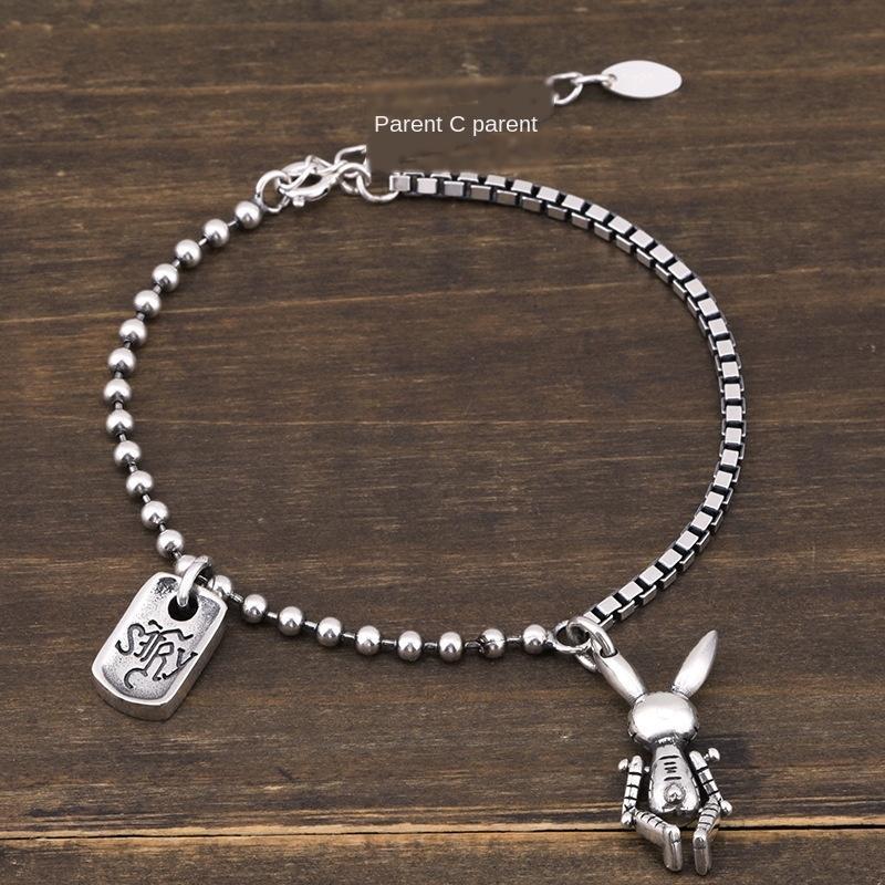 style coréen de simple étudiant à la mode des femmes de lapin bijoux personnalisés Dongdaemun 925 Bracelet en argent bracelet tout match Silve