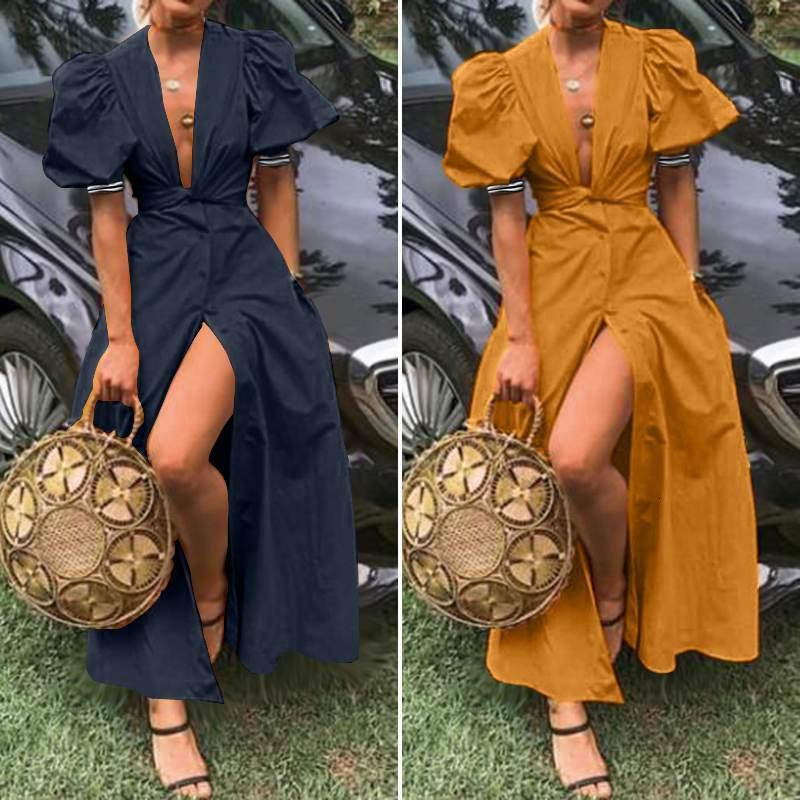 Elegant Deep V Neck Puff Sleeve Maxi Dress Women Summer Sundress ZANZEA 2020 Casual BUtton Split Vestidos Female Party Robe 5XL