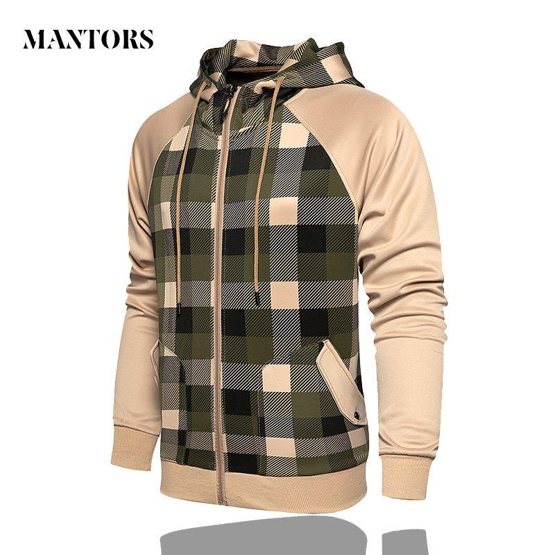 Plaid Men Jackets Windbreaker 2020 Autumn Mens Patchwork Hip Hop Jacket Vintage Cargo Bomber Coats Male Hoodies Outwear Oversize T200820