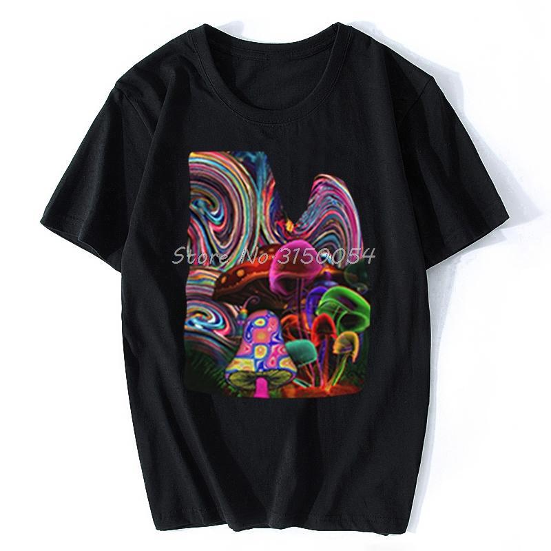 Psychedelic Sihirli Mantar Sanrılı Dil Dmt Koleksiyon Tişört Erkekler O-boyun Pamuk Tişört Hip Hop Komik Tee Gömlek Harajuku