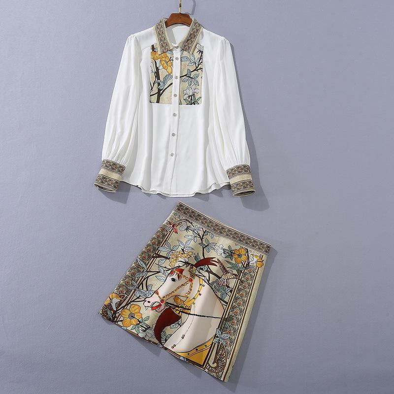 유럽과 미국의 여성 의류 2020 겨울 새로운 스타일의 긴 소매 셔츠 스팽글 말 프린트 패션 정장 스커트