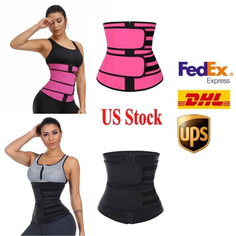 Stock américain, Hommes Femmes Shapers Taille Entraîneur Ceinture Corset Corset Mincely Shapeear Réglable Taille Soutien Corps Shapers Fy8084