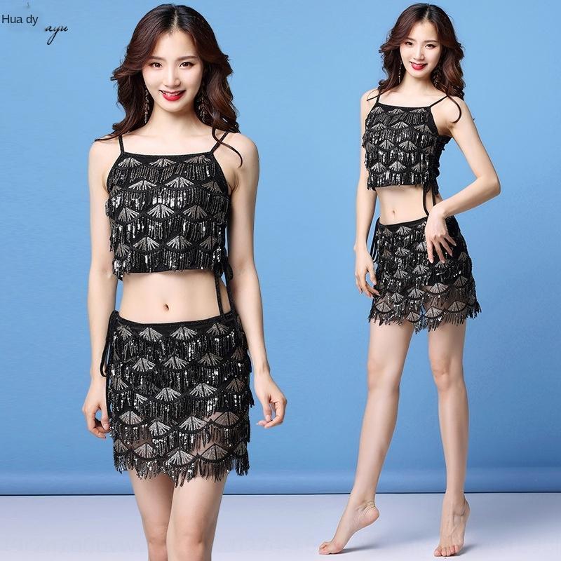 Huayu été 2019 nouveau costume de danse du ventre à sequins sexy pompon court court paillettes jupe paillettes jupe costume d'exercice de la danse orientale