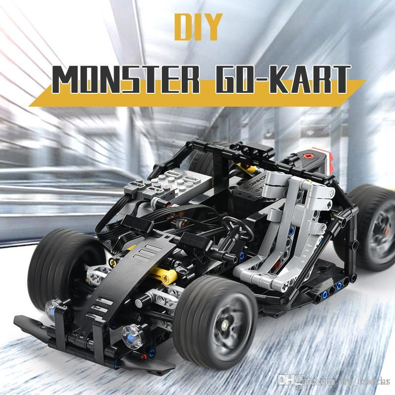 430pcs Monster Cardin Building Blocks Car For Kid Diy Creative Assembly Toys APP Remote Control Cool Vehicle Children Gift 01