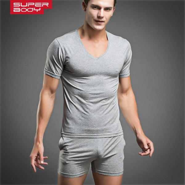 Undershirts Alta Qualidade Sexy Mens Underwear Sleepwear Pijamas Respirável Moda Masculino Undershirt Set 4 Cores 2021 Estilo!