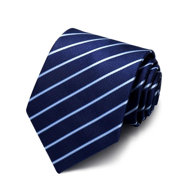 Hohe Qualität 2020 Designer neue Art und Weise Weiß Marine-Blau-Twill 8cm Krawatten für Männer Krawatte Host-Geschäfts-formalen Anzug mit Geschenk-Kasten