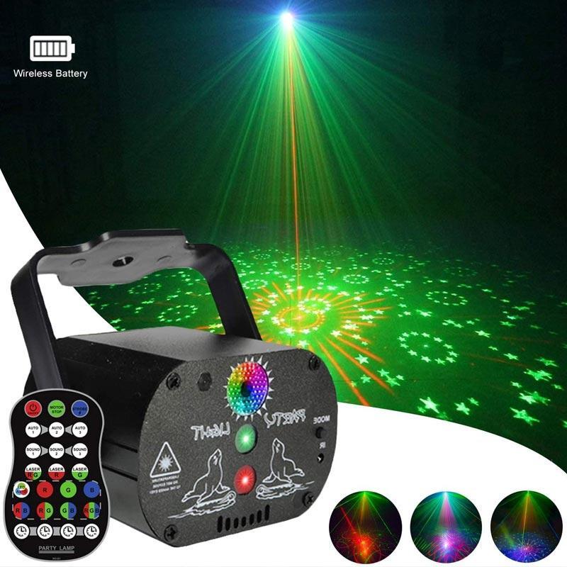 LED 레이저 무대 프로젝터 RGB 음성 제어 음악 디스코 라이트 가족 생일 파티 빔 라이트 사운드 활성화 플래시 DJ 램프