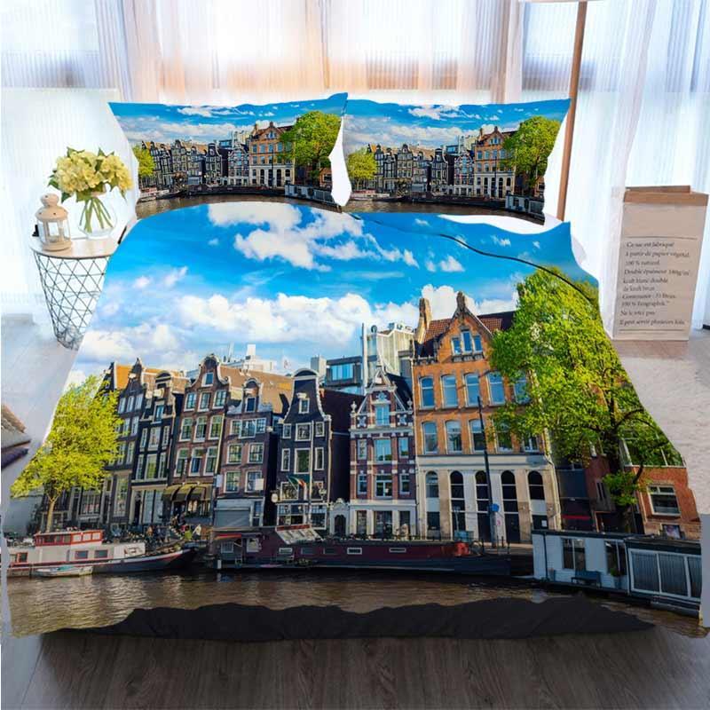 3D Juegos de cama de diseño del paisaje urbano de Amsterdam Vista del cielo con el azul de poliéster funda nórdica Canal en verano Juegos de cama de lujo