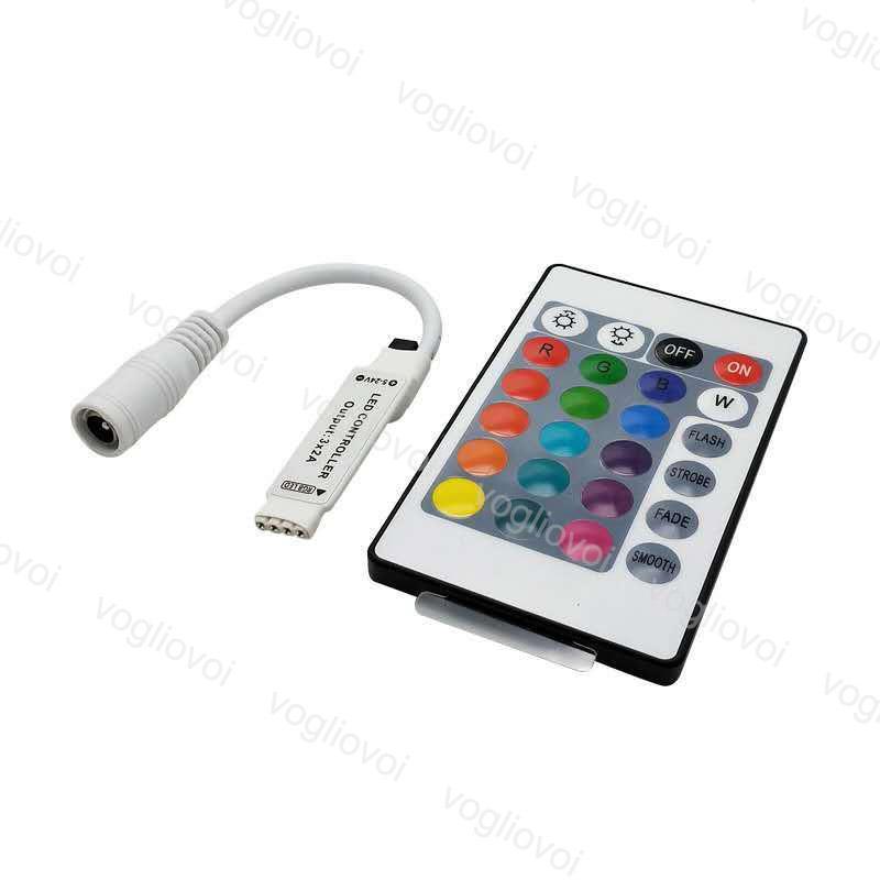 Controladores RGB Mini 24keys 72W 144W 6A DC12-24V Acessórios de iluminação para 5050 3528 2835 Módulos de tira Lâmpada de lavagem de parede DHL