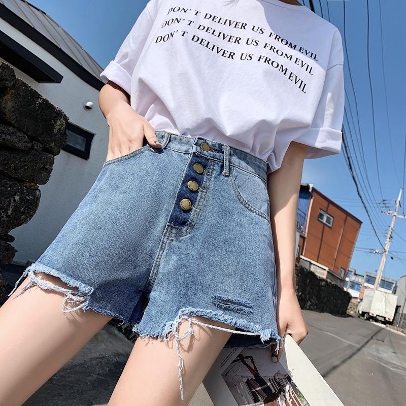 8OIF0 Denim P1Lv0 şort kadın summ Şort sıcak pantolon yüksek 2020 yeni büyük boy yağlı mm er bel zayıflama gevşek tüm maç geniş bacak a şeklindeki ho