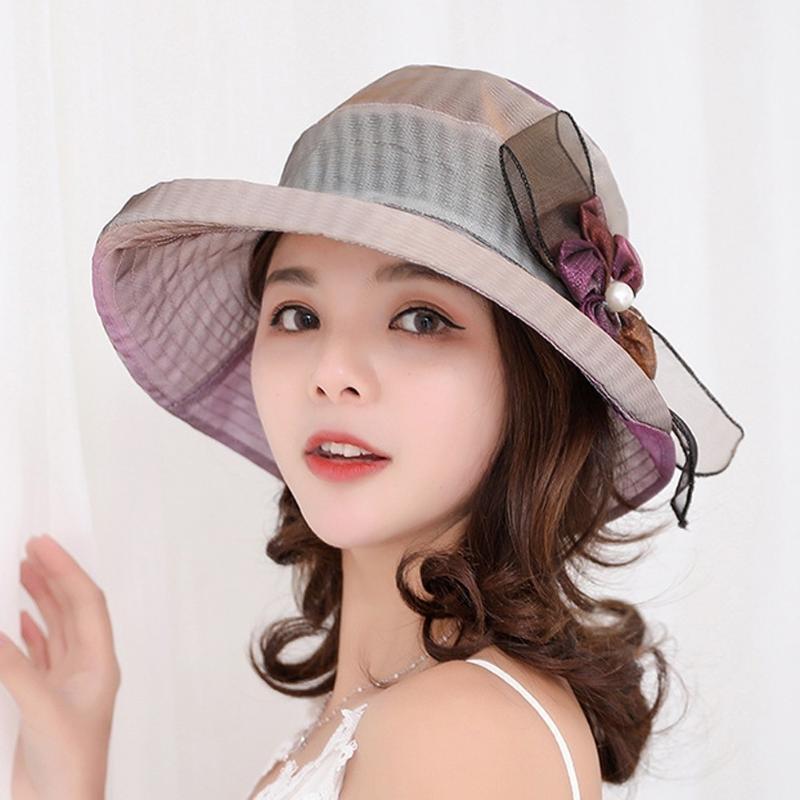 Summer Hat Женщины широкого поля Sun Hat Обручальный Sea Beach Шляпа для женщин дамы с Bow простого пляжа девушкой Sun