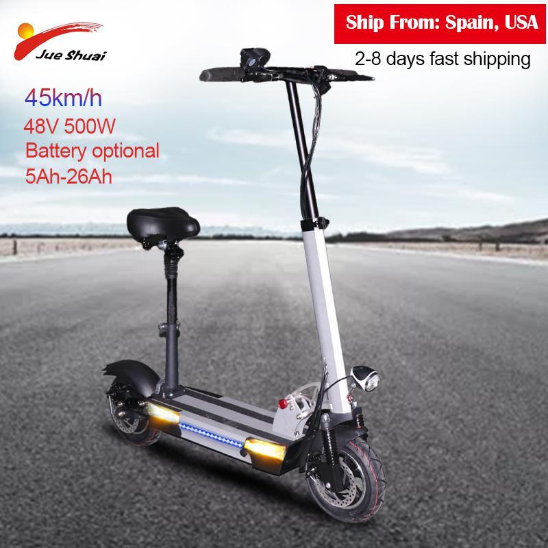 10-дюймовый 48V500W электрический скутер 45 км / ч взрослый удар E-сакутер с 26AH литиевая батарея E велосипед складной патентовой электрод
