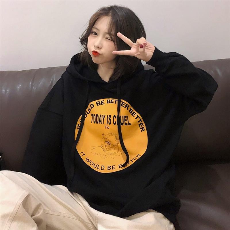 2020 осень и зима новых женщин балахон с длинным рукавом Hoodie свитер свитер крупных женщин размер рыхлый жира ММ похудения Harajuku аудиовходов стиль фас