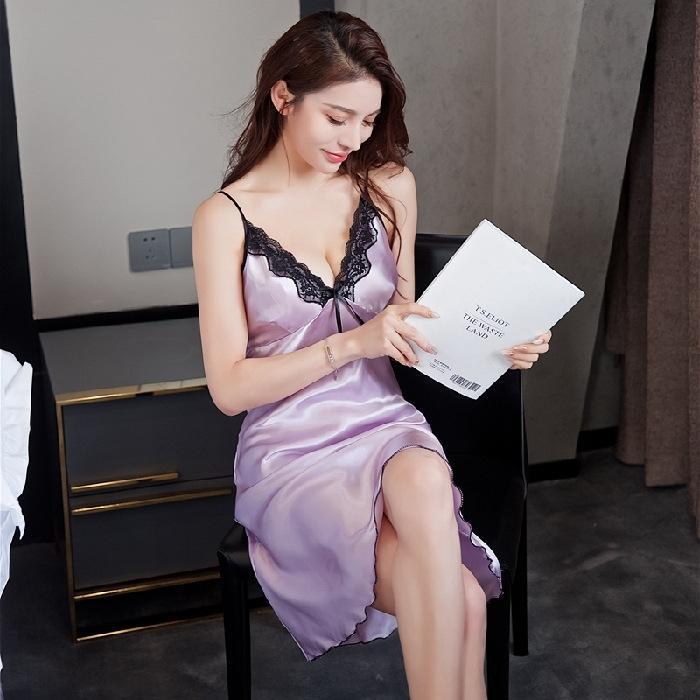 das I346D Sexy mulheres camisola de verão suspender vestido Sling pijama V-neck de seda, como gelo pijamas de seda vestido tamanho médio