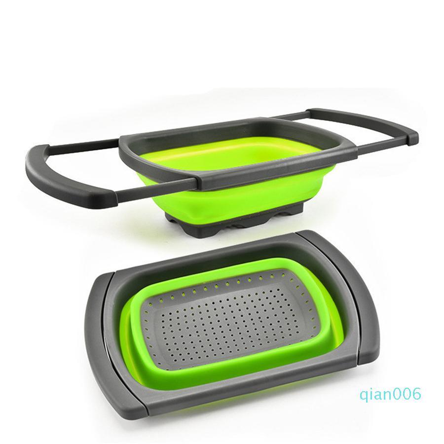 Mutfak Silikon Katlanabilir Kevgir Over The Lavabo Katlama Sebzeler / Meyveler Süzgeçler ve Uzayabilir ile Süzgeç JK2003 kolları