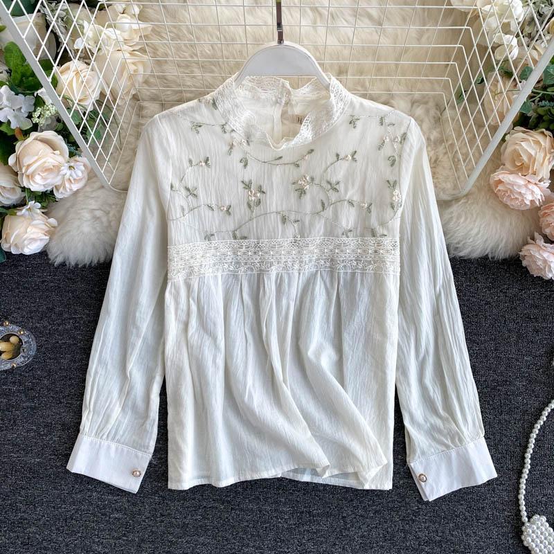 Рубашка осени женщин нового способа Ins Вышитые Стенд Воротник Топы Lady длинным рукавом Элегантная Camisas Mujer Блузка N928