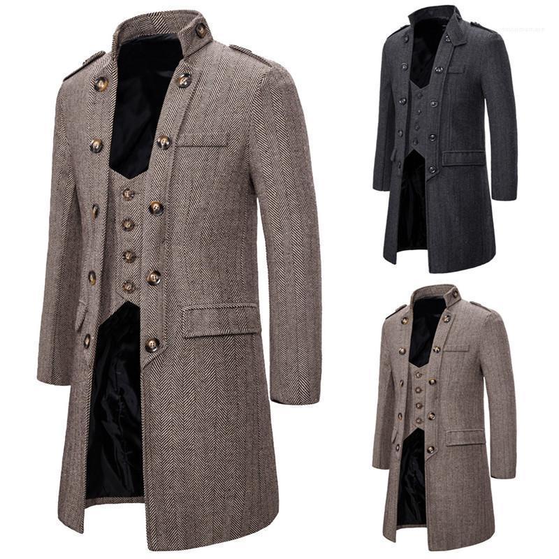 Duas peças Outono e Inverno Retro Estilo Manga comprida gola Trench Coats Mens Moda Casacos Mens Designer Windbreak Falso