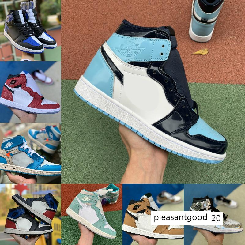2020 neue High-1 Og Mid x Travis Scotts Basketball Turbo Grün Origin Geschichte Gs Gebannt Nrg Rebel Xx Union Retros 1s Unc Weiß Blau Schuhe