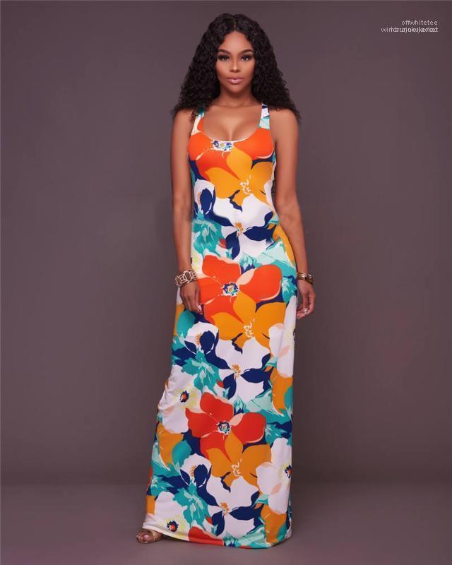 Отпечатано женщин конструктора платья Sexy Backless Scoop Neck Maxi Платья Женский Пол-Длина Повседневная одежда Пояса Flora