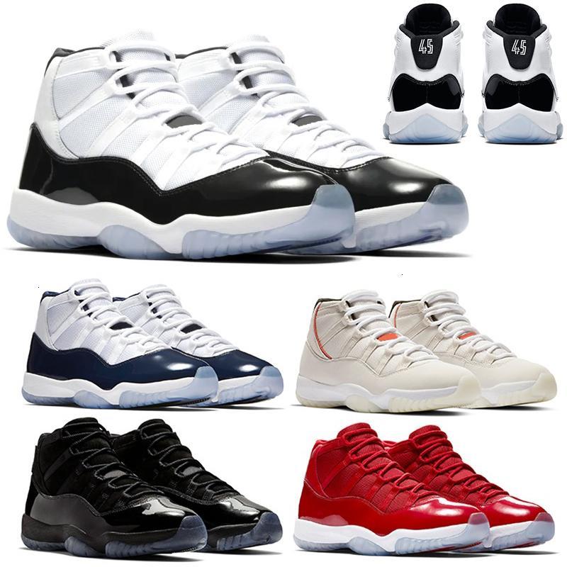 Concord 45 11 11s zapatos de baloncesto para hombre Platinum Cap Tinte y vestido de oro rosa de gamma azul Bred hombres NakeskinJordánzapato Retros