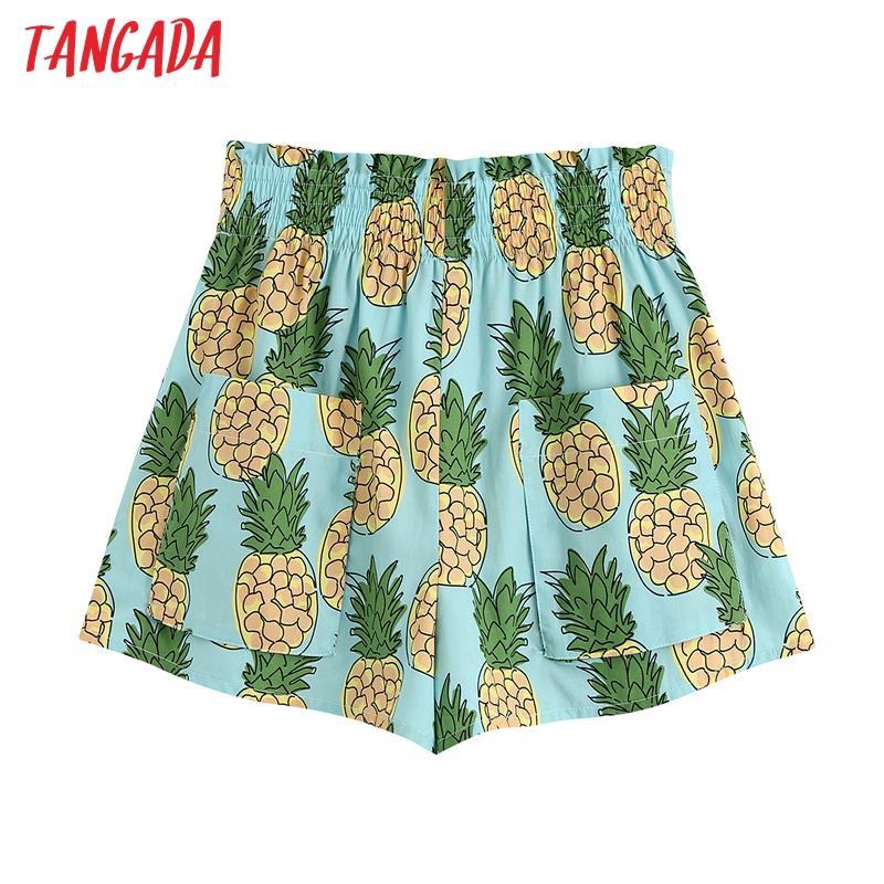 mulheres Tangada elegante abacaxi impressão calções bolsos cintura strethy retro feminina shorts pantalones BE723